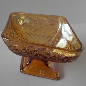 Other - Carnival Glass Diamond Shaped Footed Candy Dish